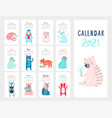 calendar 2021 monthly with cute vector image