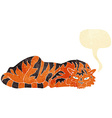 cartoon resting tiger with speech bubble vector image vector image
