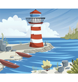 cartoon sea landscape with lighthouse and boats vector image vector image