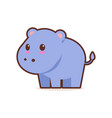 cute blue hippopotamus cartoon comic character vector image