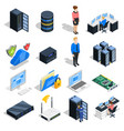 datacenter elements icon set vector image vector image