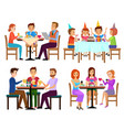 eating adults and kids set sitting in restaurant vector image