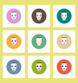 flat icons halloween set of skull mask concept on vector image vector image