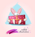 funny cute rabbit with gift vector image vector image