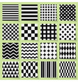 Geometrical black and white seamless patterns set vector image