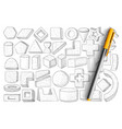 geometrical forms and shapes doodle set vector image vector image