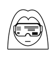 girl vr googles innovation technology outline vector image