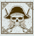 grunge style pirate skull and sword crossed vector image
