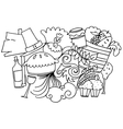 Hand draw thanksgiving doodle art vector image vector image