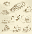Hand drawn cake sketch vector image vector image