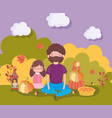 happy thanksgiving family father and daughter vector image vector image
