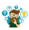 hipster businessman having creative idea vector image vector image