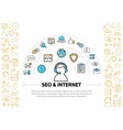 internet line icons template vector image vector image