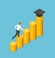 isometric businessman running to graduation cap vector image vector image