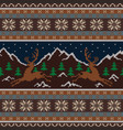 knitted wool tapestry with deers and mountains vector image vector image