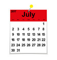 Leaf calendar 2017 with the month of July vector image vector image