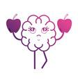 line kawaii brain with apples fruit vector image vector image