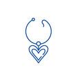 love necklace line icon concept love necklace vector image vector image