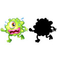 monster with its silhouette on white background vector image vector image