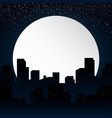Moon Background silhouette of the city at night vector image