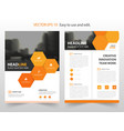 orange hexagon annual report brochure design vector image vector image