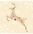 Ornamental Christmas reindeer with snowflakes vector image vector image