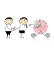 Parents walking with newborn baby in buggy vector image vector image