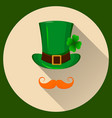 patrick hat green hat with four leaf clover and vector image vector image