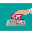 pos terminal and bank card vector image vector image