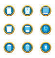 production waste icons set flat style vector image vector image