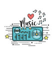 radio to listen and play music vector image vector image