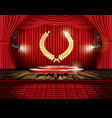 red stage curtain with spotlights seats and vector image vector image