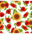 Seamless pattern sunflowers and poppies vector image