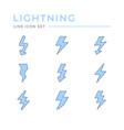 set color line icons lightning vector image vector image