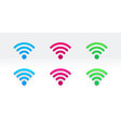 set different color wi-fi sign vector image