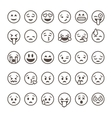 Set of outline emoticons emoji isolated vector image