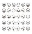 set outline emoticons emoji isolated vector image