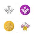 spa salon plumeria flowers icon vector image vector image