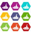 submarine icon set color hexahedron vector image vector image