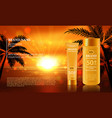 sun protection cream ads with vector image vector image
