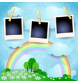 surreal landscape with photo frames vector image