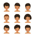tanned skin man with different hairstyles set vector image vector image