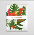 tropical flower background with green monstera vector image