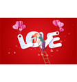 valentines day card with couple in love hearts vector image vector image
