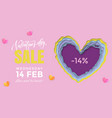 valentines day sale banner design template of vector image vector image