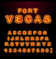 vegas font glowing lamp letters retro alphabet vector image vector image
