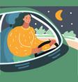 woman driving car at night vector image vector image