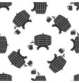 wooden barrel on rack with wooden beer mug icon vector image