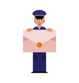 young postman in blue uniform holds big envelope vector image vector image