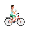 young woman riding bicycle and holding bottle of vector image vector image